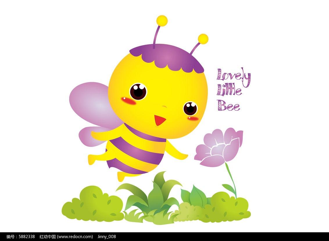 原创可爱卡通吉祥物采蜜小蜜蜂ai源文件