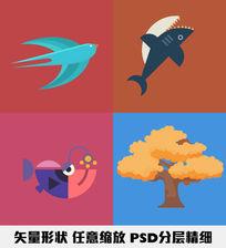 鲨鱼燕子比目鱼樱花树卡通矢量形状绘制卡通图案分层精细图形