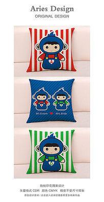 抱枕图案设计CDR背带裤卡通情侣猴