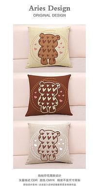 抱枕图案设计CDR卡通爱心熊