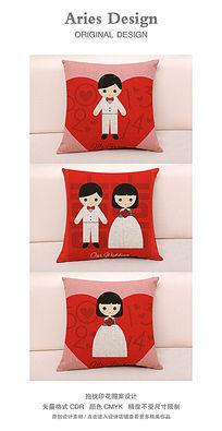 抱枕图案设计CDR卡通新人5201314