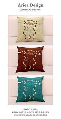 抱枕图案设计CDR卡通熊