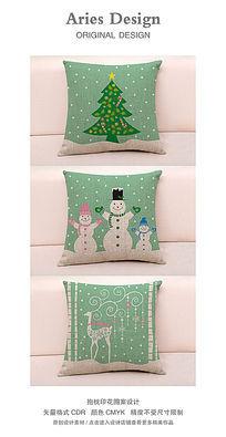 抱枕图案设计CDR圣诞森林
