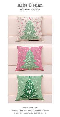 抱枕图案设计CDR雪花圣诞树