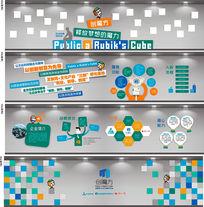 蓝绿色IT创业背景墙