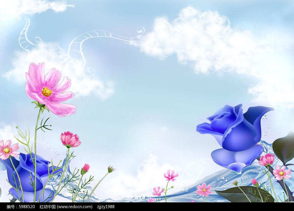原创设计稿 装饰画/电视背景墙 背景墙 蓝色妖姬浪漫风景清新唯美电视