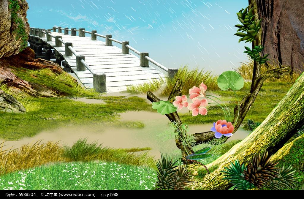 唯美浪漫野外风景3d电视背景墙