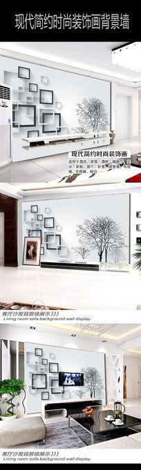 3D立体手绘放方块树枝室内客厅沙发背景墙壁画
