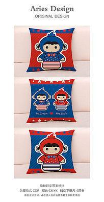 抱枕图案设计CDR红蓝星条旗卡通情侣猴