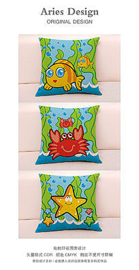 抱枕图案设计CDR卡通海底世界