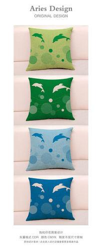 抱枕图案设计CDR跳跃海豚 CDR