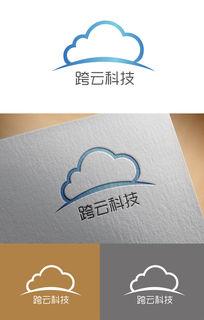 大气简洁跨云科技logo AI