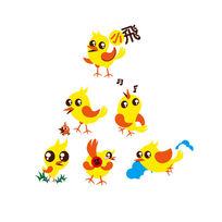 黄色可爱小鸟插画