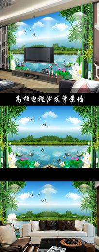 现代时尚自然风景山水壁画电视背景墙