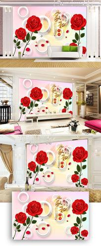 3D立体红玫瑰花朵电视背景墙图片
