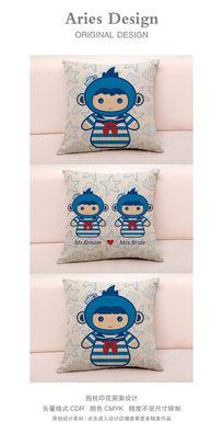 抱枕图案设计CDR海军水手服卡通情侣猴