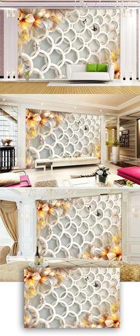 梦幻现代简约花朵花卉电视背景墙图片
