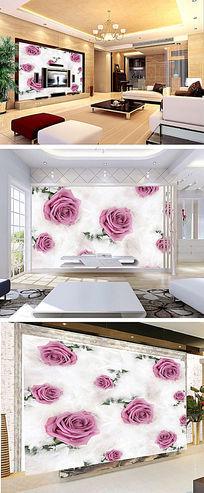 玫瑰花3D电视背景墙