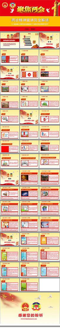 2016全国两会政府工作报告PPT模板