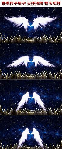 唯美粒子星空天使翅膀婚庆背景视频素材新娘出场背景