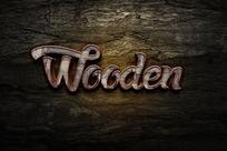智能导入木制刮痕金属立体字