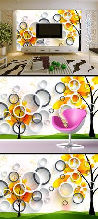 3D立体壁画圆圈电视背景墙