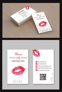 红色唇印名片设计