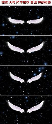 唯美梦幻粒子星爆星空天使翅膀新娘出场背景婚庆led视频素材