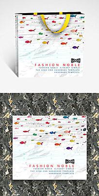 彩色海洋小鱼可爱纸袋设计