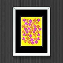简洁粉红色花朵黄色装饰画