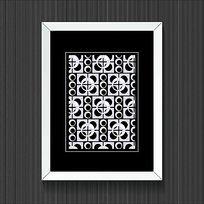 简约时尚黑白圆形几何装饰画