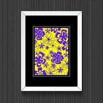 时尚紫花朵黄色背景装饰画