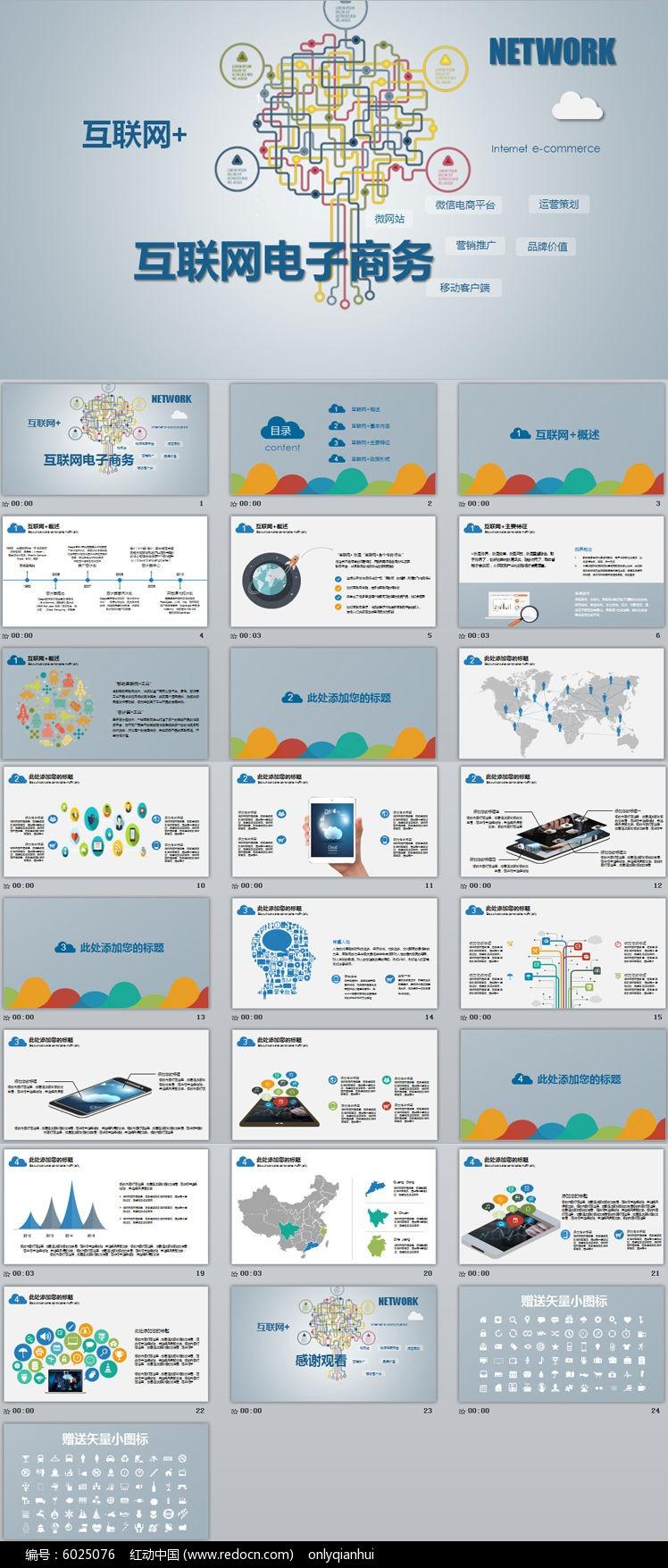 移动互联网+云计算物联网电子商务扁平化创业商业融资计划书电商路演动态PPT模板图片