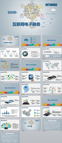移动互联网+云计算物联网电子商务扁平化创业商业融资计划书电商路演动态PPT模板