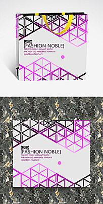 紫色三角形边框纸袋设计