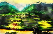 风景画油画装饰画 PSD