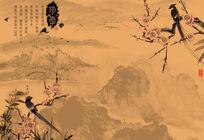 梅花喜鹊水墨山水复古风中式意境电视背景墙图片