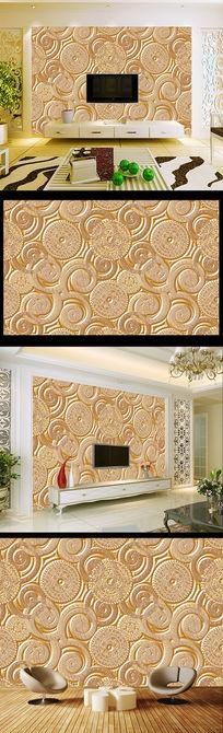 欧式精品花纹客厅电视背景墙画壁纸