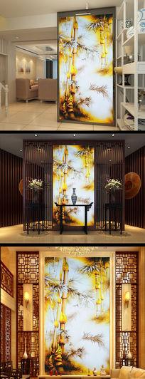 中式复古竹报平安工笔玄关背景墙