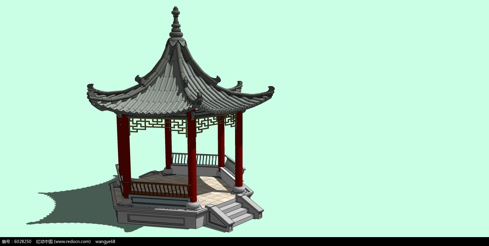 中式古典建筑亭子su模型图片