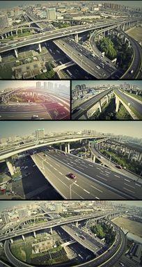 航拍鸟瞰城市高架立交桥交通视频素材