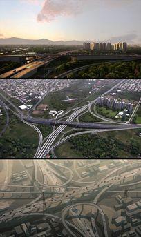 航拍鸟瞰城市高架桥交通