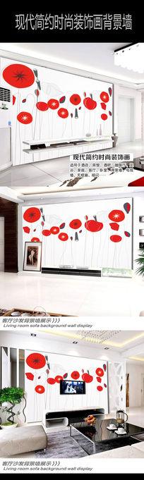 红色卡通荷叶荷花背景墙
