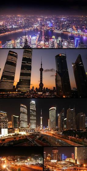 上海陆家嘴东方明珠街道夜景车流线