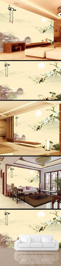 中国风清雅江南水乡风景画电视背景墙