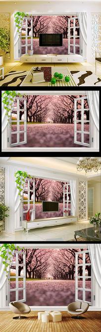 3D窗户浪漫樱花大道装饰画电视背景墙