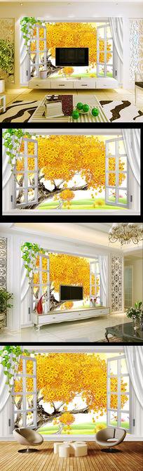3D窗外发财树黄金满屋客厅电视背景墙