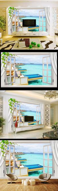 3d窗户窗子木屋大海电视背景墙