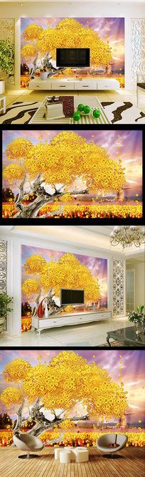 炫彩发财树黄金满屋客厅电视背景墙