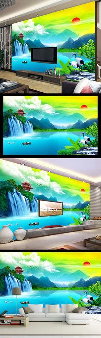 桂林风光山水瀑布漓江清韵电视背景墙装饰画